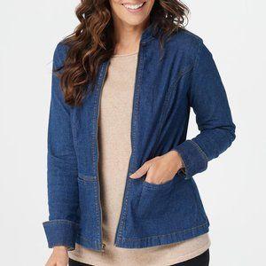 Denim & Co. Stretch Denim Zip Front Jean Jacket